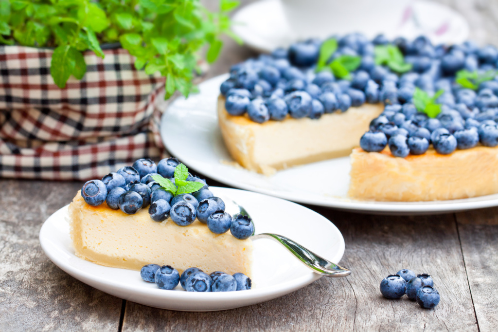Cheesecake with blueberry and mint. Summer dessert